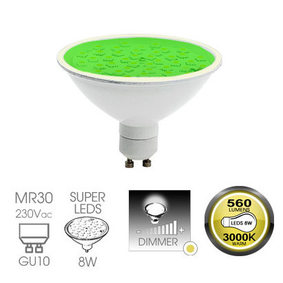 Easy Connect 8w GU10 Green Dimmable LED Lamp