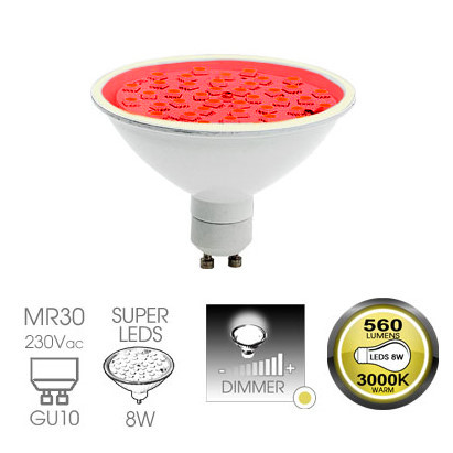 Easy Connect 8w GU10 Red Dimmable LED Lamp