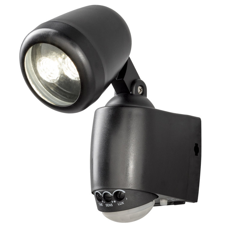 Black Battery Operated LED Security Entrance Light With Motion Sensor