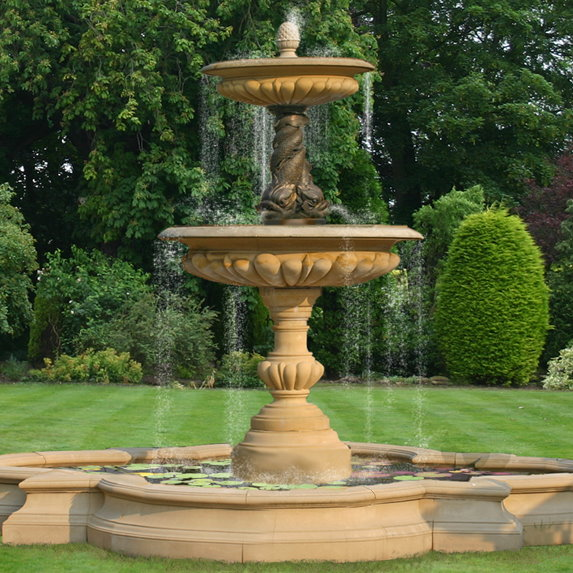 Large Two Tier Vermeer Bronze Triple Dolphin Garden Fountain Centre Piece