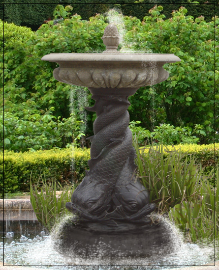 Small 1 Tiered Bronze Triple Dolphin Garden Fountain Centre piece