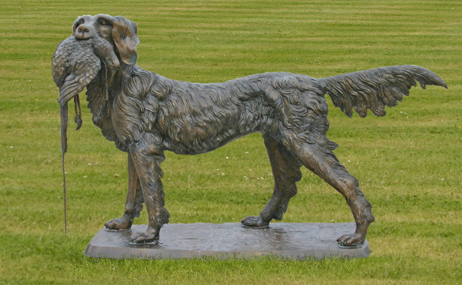 Retriever Hunting Dog Bronze Garden Statue