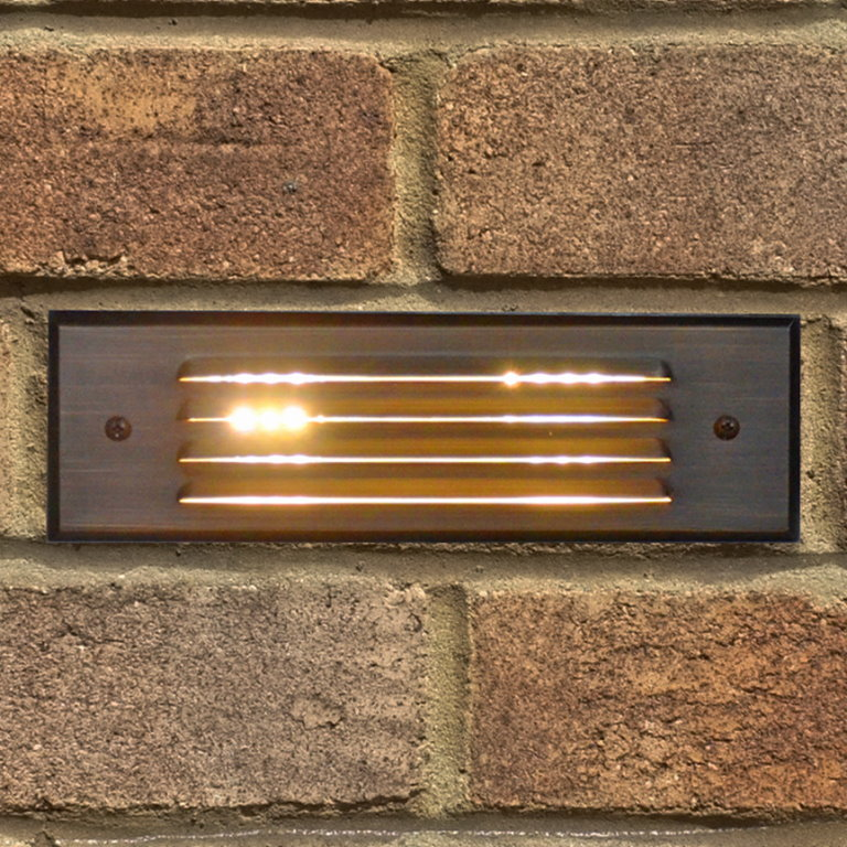 Outdoor Patio Brick Lights: 12v Brass Recessed Brick Light With Louvered Face Plate