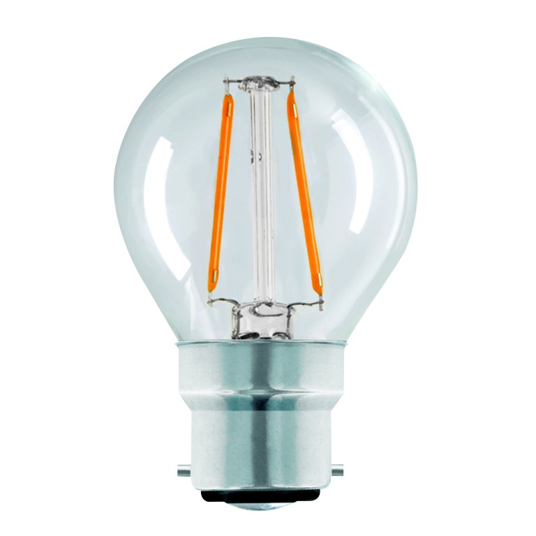 240v 2w BC Clear Round LED Filament Lamp