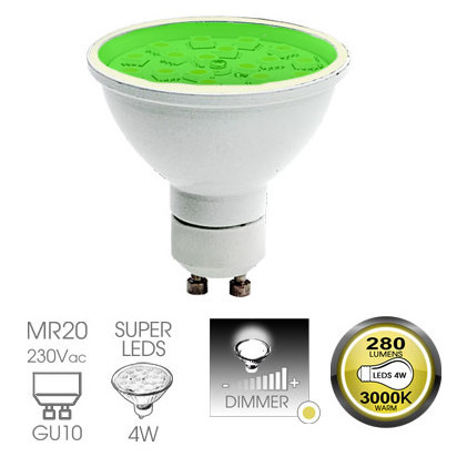 Easy Connect 4w GU10 Green Dimmable LED Lamp