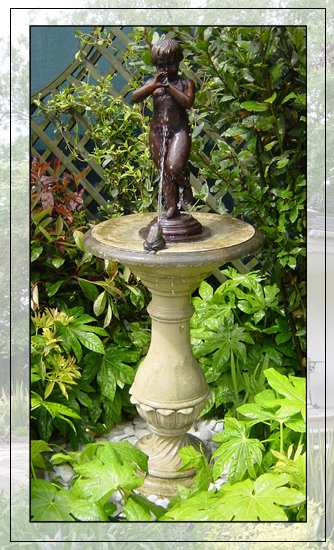 Bronze Putto and Frog  Firenze Self Contained Garden Fountain Centrepiece with Pool & Pump