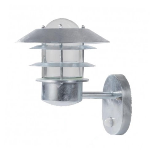 FLY Galvanised Steel Wall Light With PIR Detector