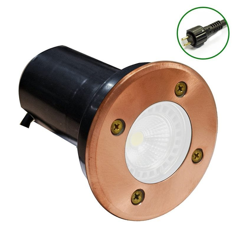 12v Natural Copper Plug & Play Ground, Deck or Wall Mounted recessed wall Light