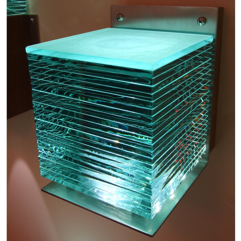 Cardale Series 39 Laminated Glass Cube Wall Light