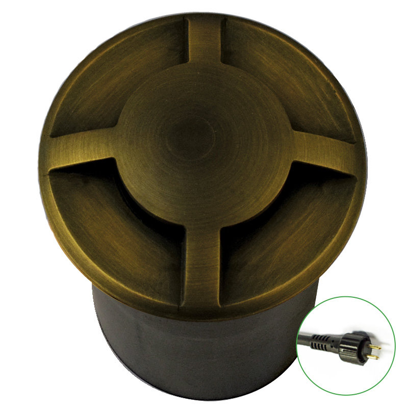 12v Plug & Play Brass Recessed Multi Directional Ground, Deck and Step Light